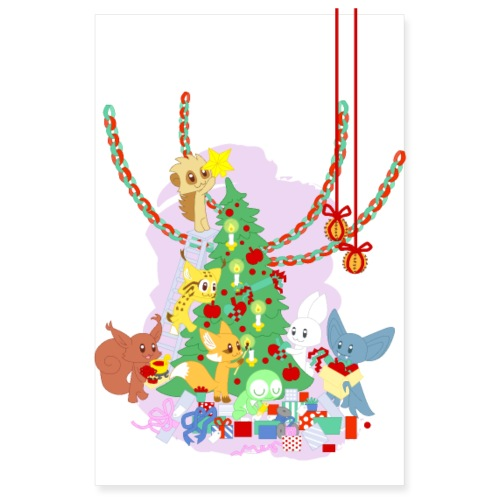 Dressing the Yule Tree - cartoon animals - Poster 20x30 cm