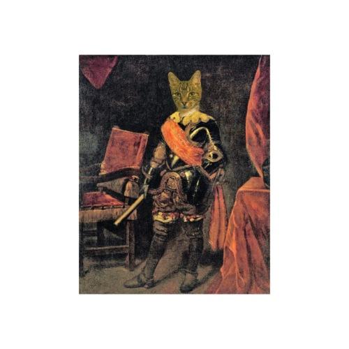 Chat en costume d'époque, armure du 17eme siècle. - Poster 20 x 30 cm