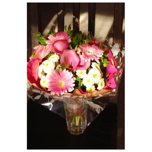 Strauß pink Gerbera Calla Chrysantheme Sommer - Poster 20x30 cm