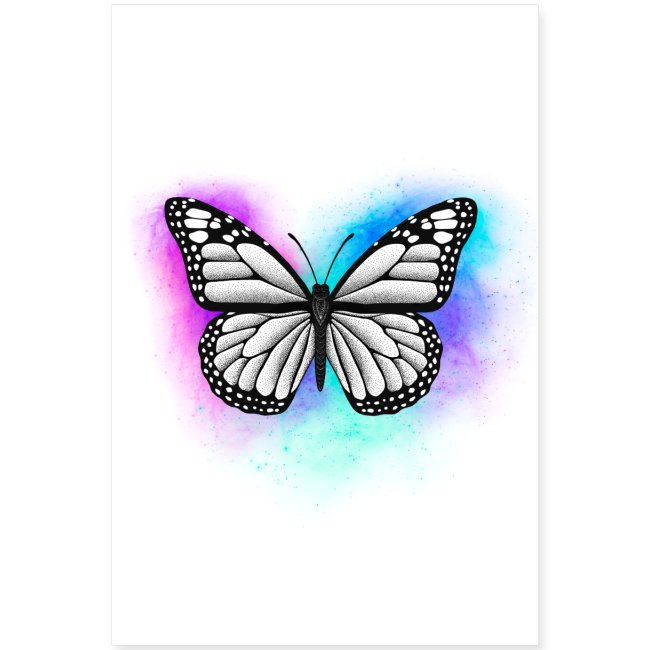 Butterfly Dotwork colorful on white