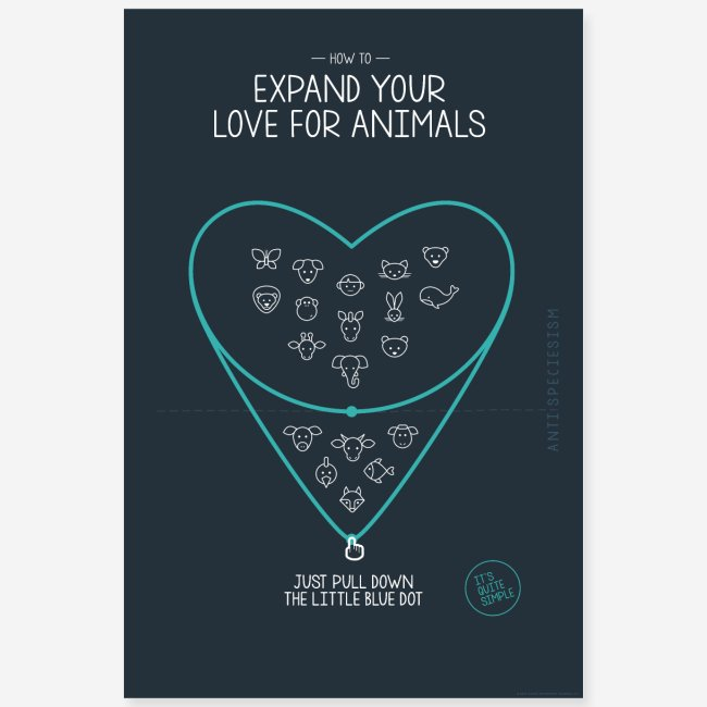 "Poster ""Expand your love for animals"" (blau)"