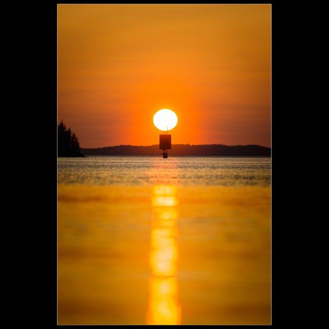 Helteinen auringonlasku Saimaalla
