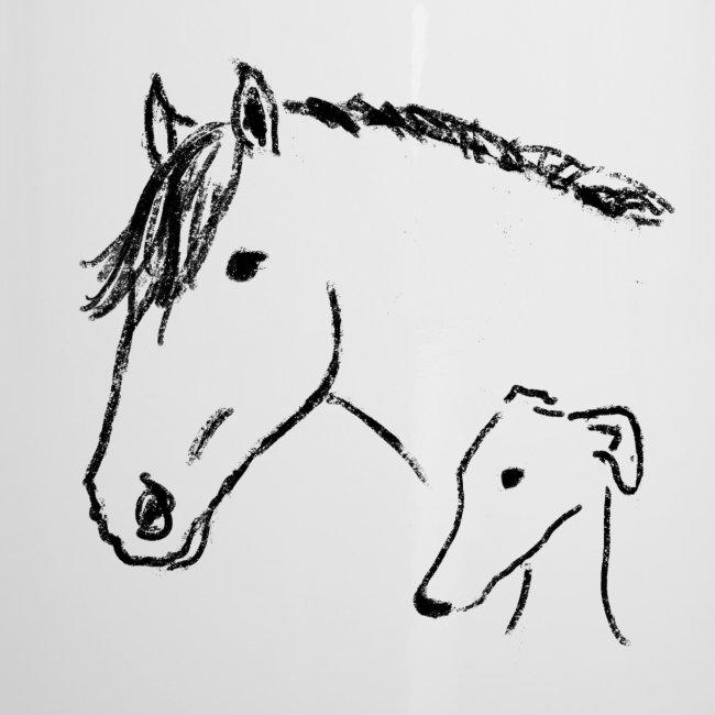 Windhund und Pferd
