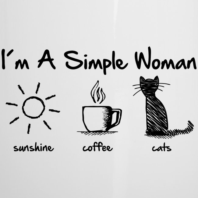 simple woman cats - Emaille-Tasse