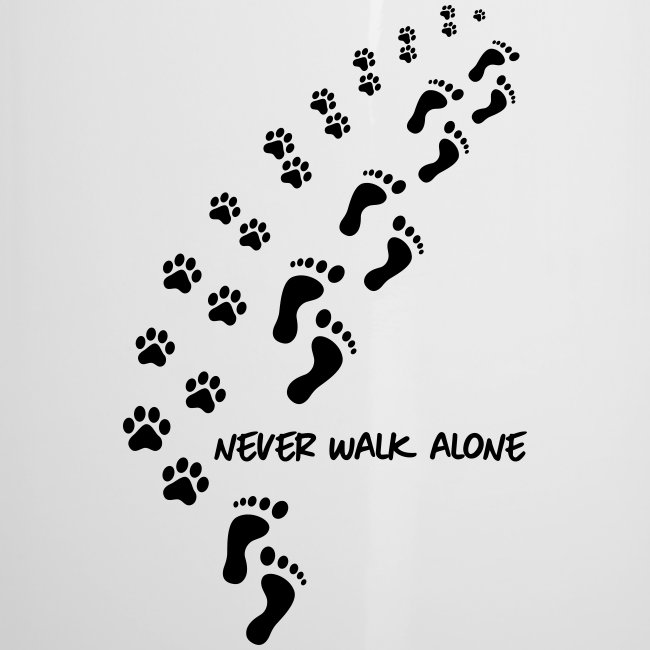 Vorschau: never walk alone dog - Emaille-Tasse