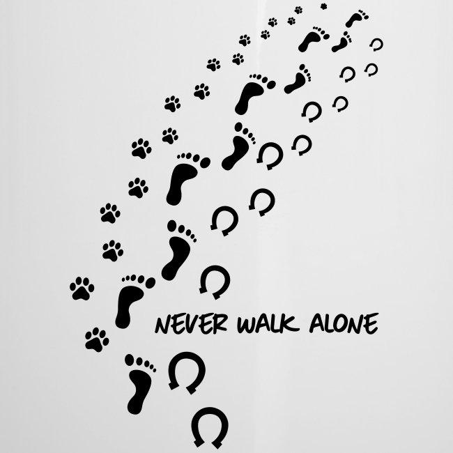 Vorschau: never walk alone hund pferd - Emaille-Tasse