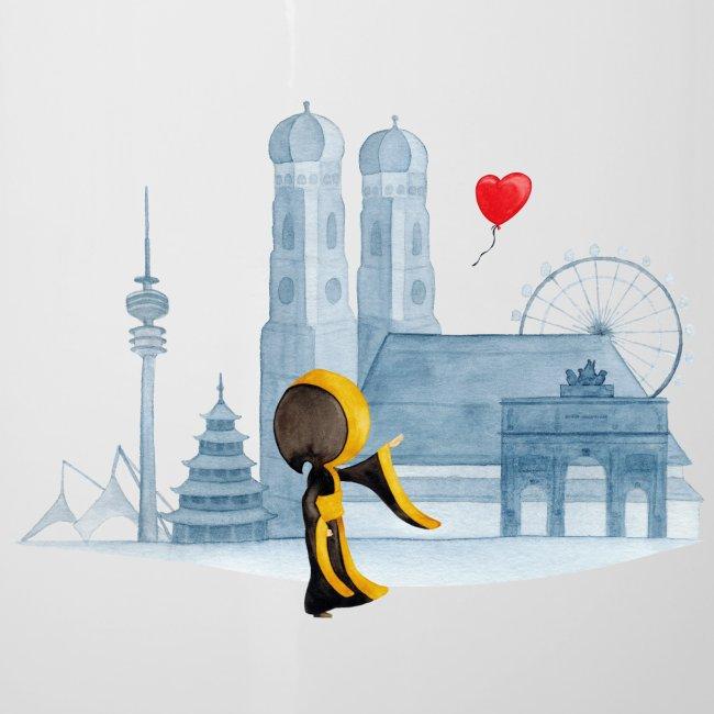 Skyline München mit Münchner Kindl und Herz