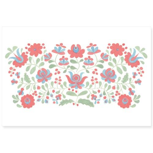 ungarisches Blumenmuster - Poster - Poster 90x60 cm