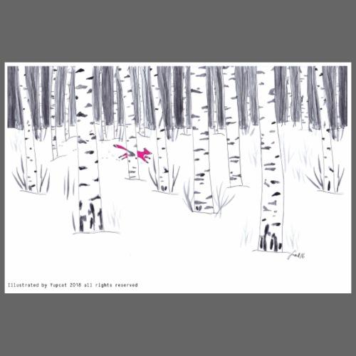 Volpe nella neve tra le Betulle