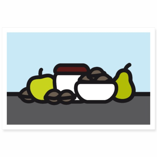 Stilleben mit Apfel Birne und Nüssen - Poster 90x60 cm