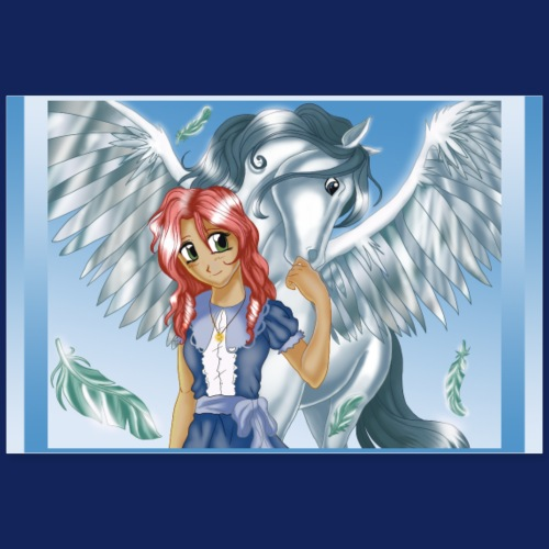 Girl and Pegasus - Poster version - Poster 90x60 cm