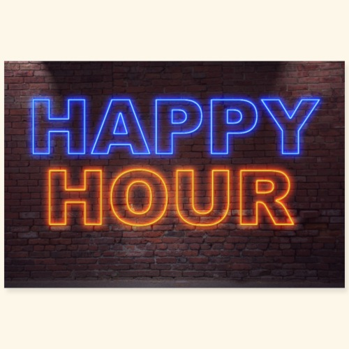 Neon Lettering Happy Hour on Brick Wall Poster - Poster 90x60 cm