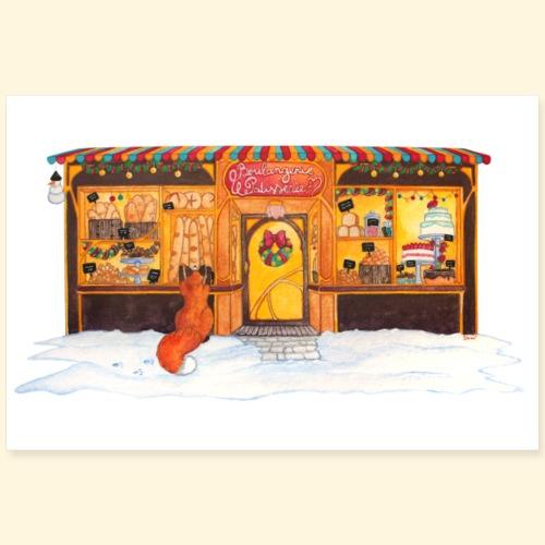 Boulangerie-Pâtisserie de Noël : Renard gourmand - Poster 90 x 60 cm