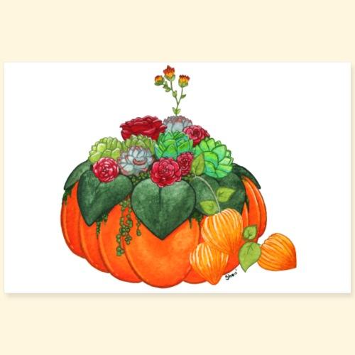 Bouquet d'automne : Succulentes et citrouille - Poster 90 x 60 cm