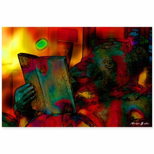 2 3 DE Ganesha reading book - Poster 90x60 cm