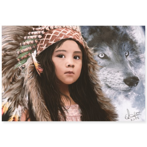 Native Girl & Wolf - Poster 90x60 cm