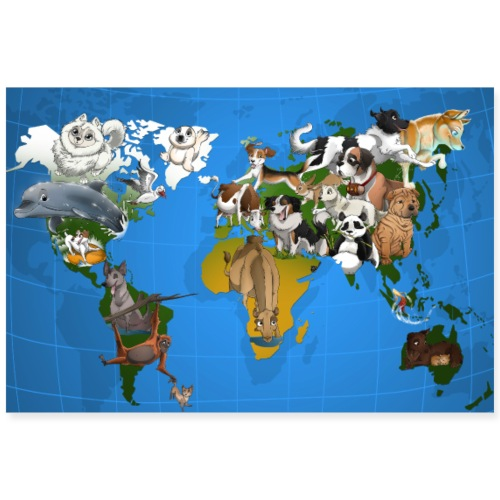 Calendrier Map Monde - Poster 90 x 60 cm