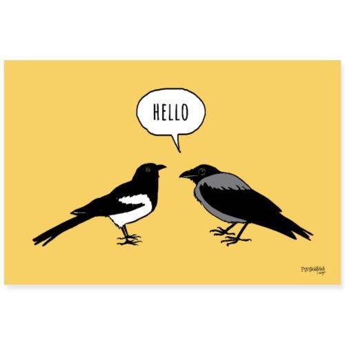 Hello, keltainen - Juliste 90x60 cm