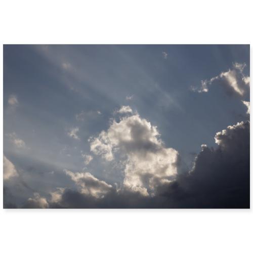 Himmel mit Wolken und Sonnenstrahlen - Poster 90x60 cm