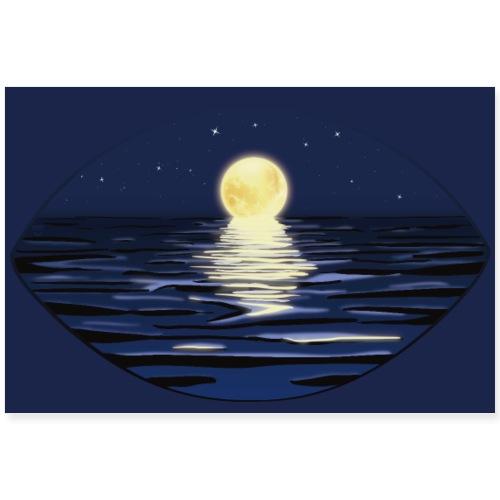 Sommer Vollmondnacht am Meer | Wandbild/Poster - Poster 90x60 cm