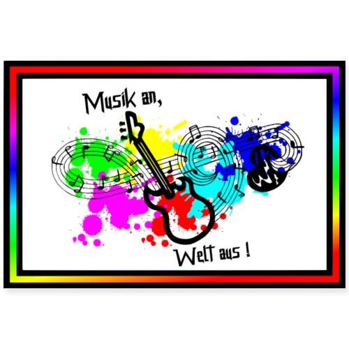 Musik - Musik an, Welt aus! - Gitarre, Noten, Herz - Poster 90x60 cm