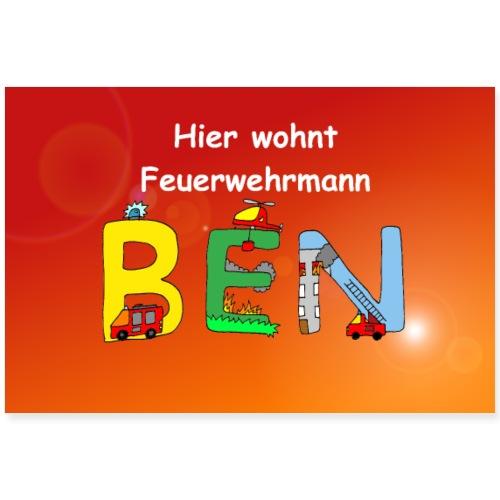 Ben Kinderzimmer - tolles Feuerwehr Motiv mit Name - Poster 90x60 cm
