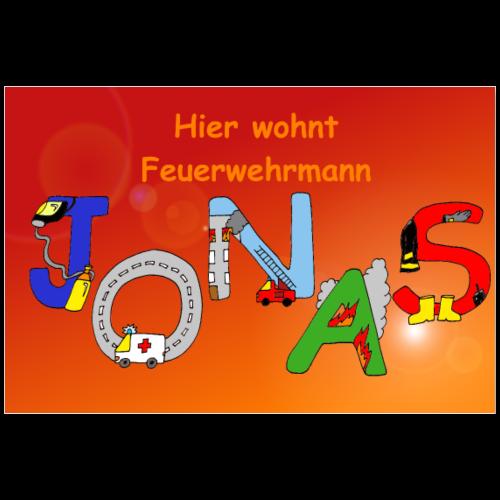 Jonas - Namensposter fürs Feuerwehr Kinderzimmer - Poster 90x60 cm