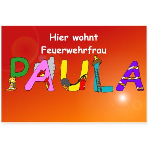 Paula Feuerwehrfrau - Poster oder Plakat - Poster 90x60 cm