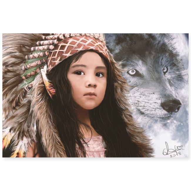 Native Girl & Wolf