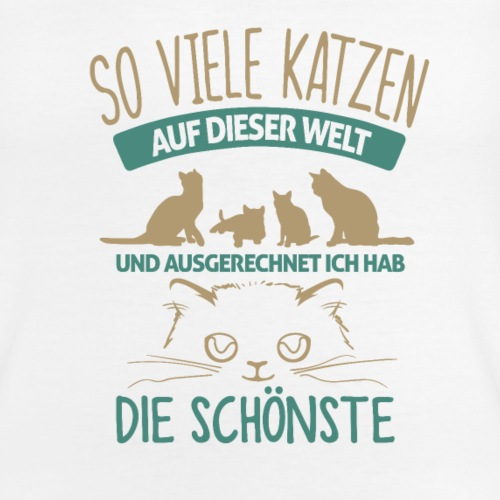 Die schönste Katze der Welt - Klassisches Frauen-T-Shirt mit V-Ausschnitt