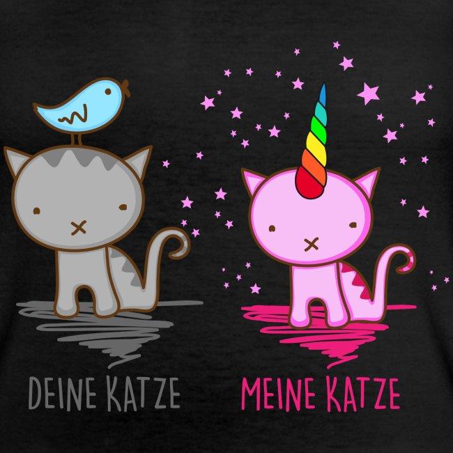 Vorschau: Deine Katze vs. Meine Katze - Klassisches Frauen-T-Shirt mit V-Ausschnitt