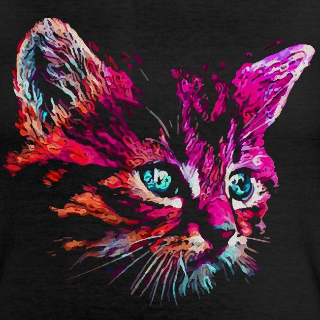 Vorschau: cat pink paint - Klassisches Frauen-T-Shirt mit V-Ausschnitt