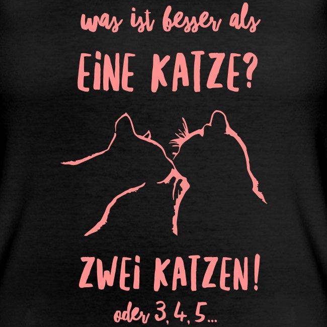 Vorschau: besser als eine Katze - Klassisches Frauen-T-Shirt mit V-Ausschnitt