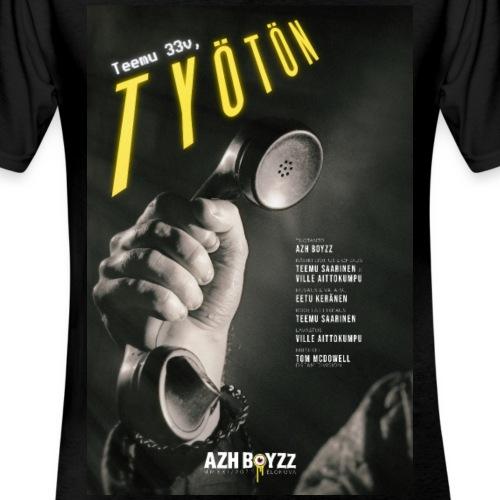 Teemu 33v, työtön - Klassinen miesten t-paita v-pääntiellä