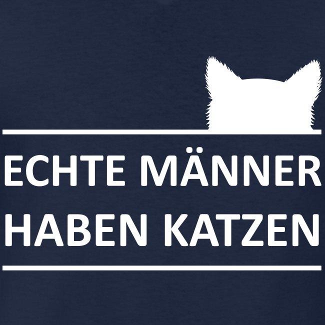 Vorschau: Echte Männer haben Katzen - Klassisches Männer-T-Shirt mit V-Ausschnitt