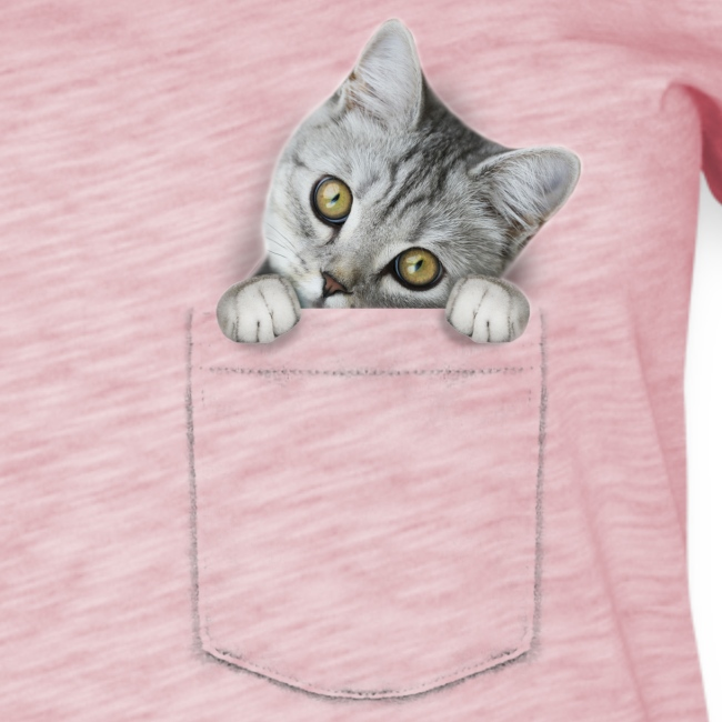 cat pocket - Frauen T-Shirt mit Flatterärmeln