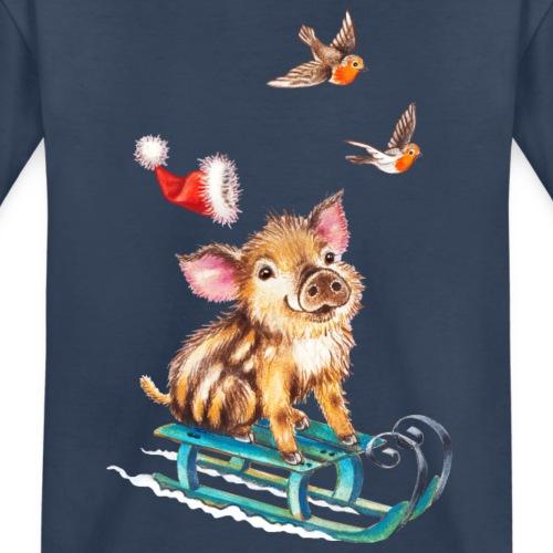 biggetje op slee - Teenager Premium Organic T-Shirt