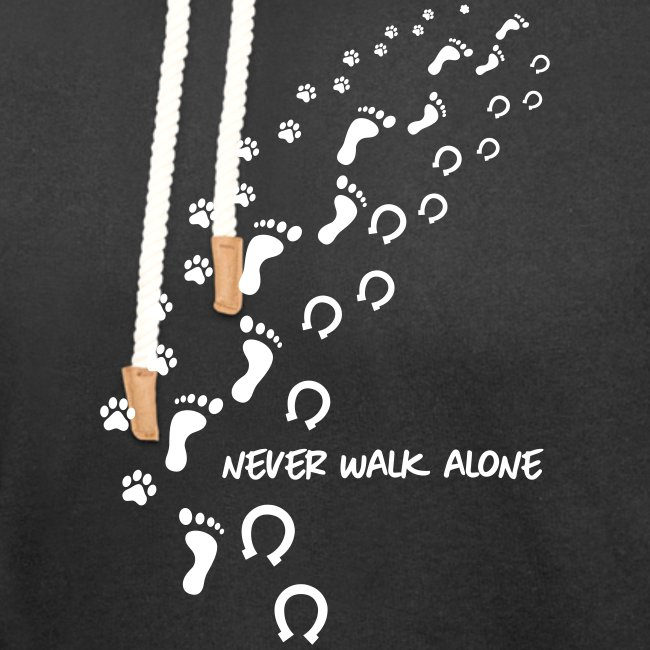 Vorschau: never walk alone hund pferd - Unisex Schalkragen Hoodie