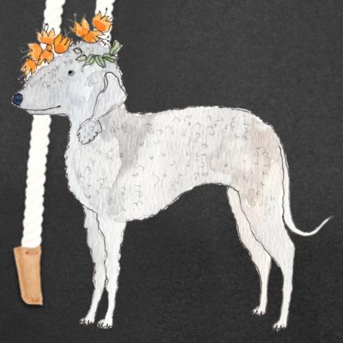 bedlington with flower - Hoodie med sjalskrave