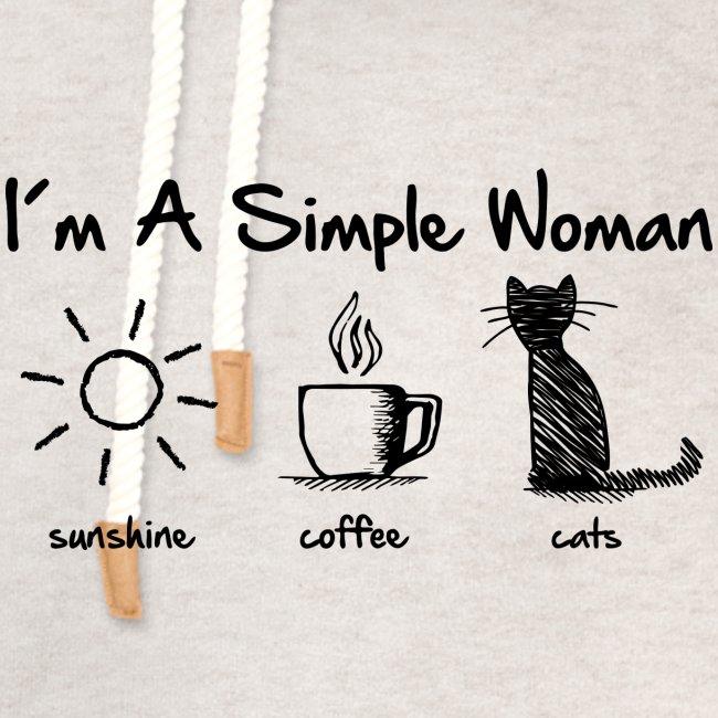 Vorschau: simple woman cats - Unisex Schalkragen Hoodie