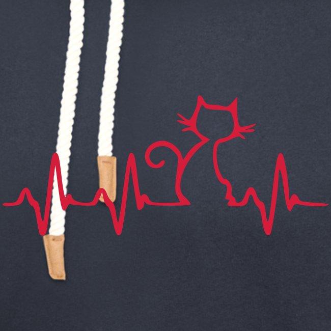 Vorschau: Cat Heartbeat - Unisex Schalkragen Hoodie
