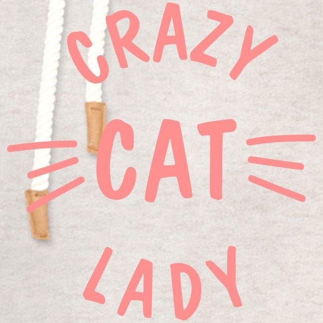 Vorschau: Crazy Cat Lady meow - Unisex Schalkragen Hoodie