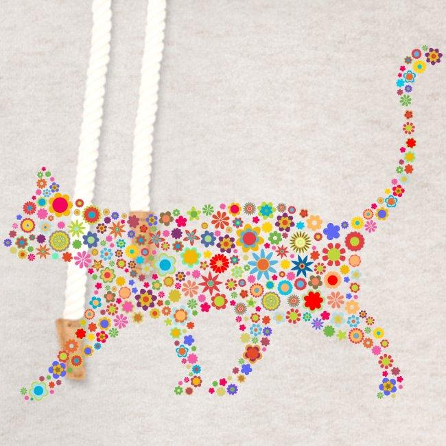 Vorschau: flower cat - Unisex Schalkragen Hoodie