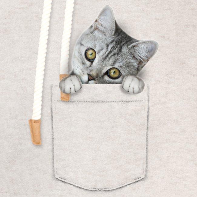 Vorschau: cat pocket - Unisex Schalkragen Hoodie