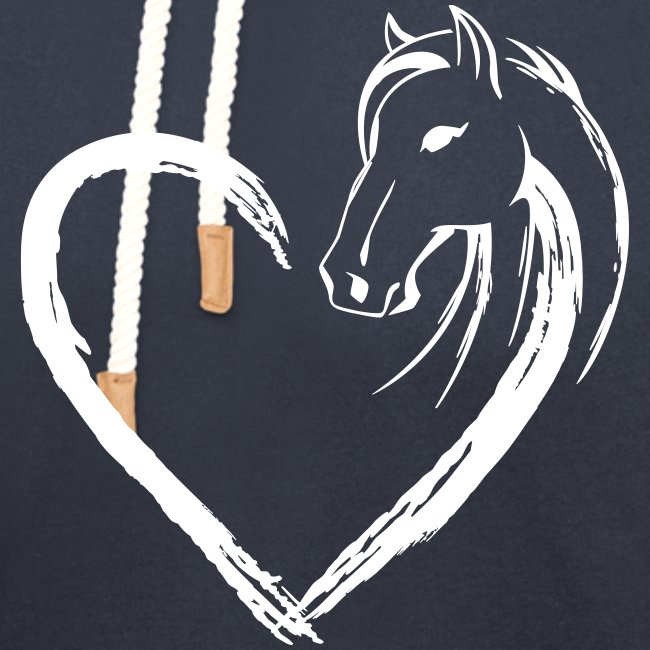 Vorschau: Pferde Herz - Unisex Schalkragen Hoodie