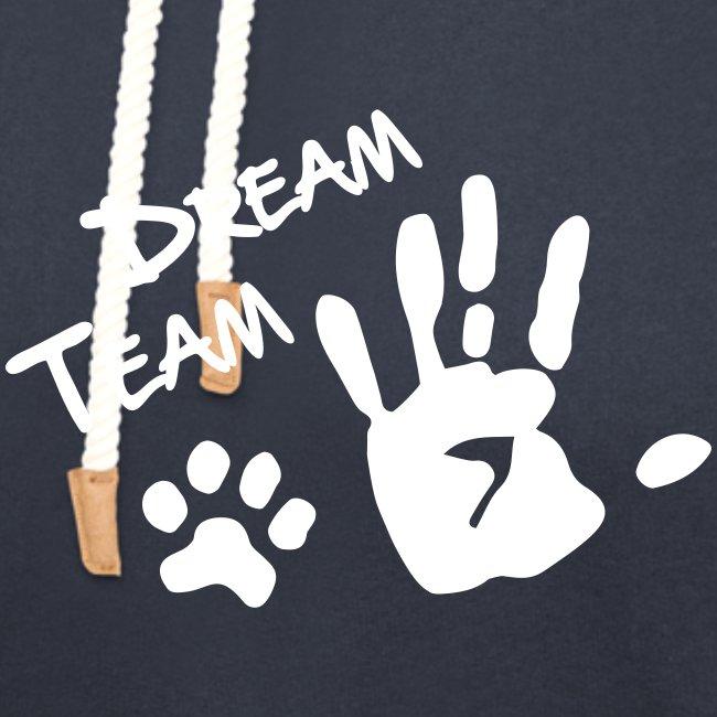 Vorschau: Dream Team Hand Hundpfote - Unisex Schalkragen Hoodie