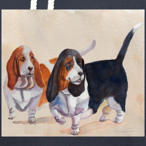 Basset hound_double-trot - Hoodie med sjalskrave