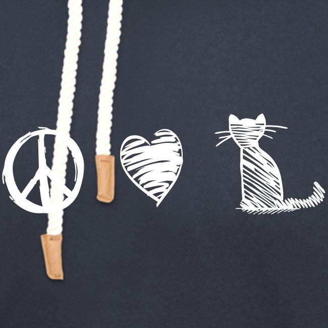 Vorschau: peace love cats - Unisex Schalkragen Hoodie
