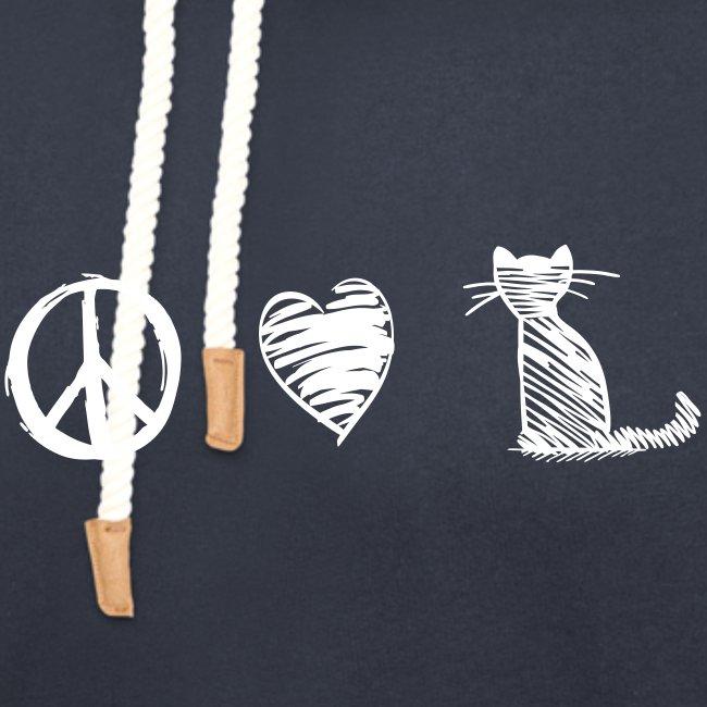 Vorschau: peace love cats - Schalkragen Hoodie
