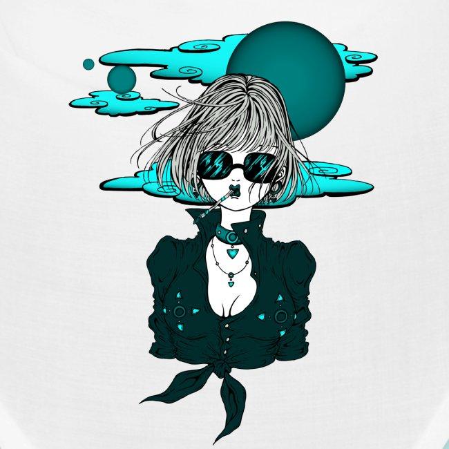 Femme manga rock avec lunettes de soleil